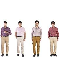 TruSo Men's Pack Of 4 Slim Fit Chinos (Light Beige, Beige, Khaki, Brown)