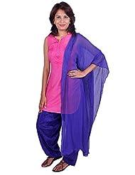 Womens Cottage Purple Cotton Jacquard Patiala & Chiffon Dupatta Set