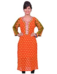 Chhipa Women Hand Printed Orange Kurti - B00PDPDOGY