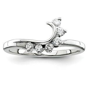 IceCarats Designer Jewelry Size 6 14K White Gold Aa Diamond Wrap