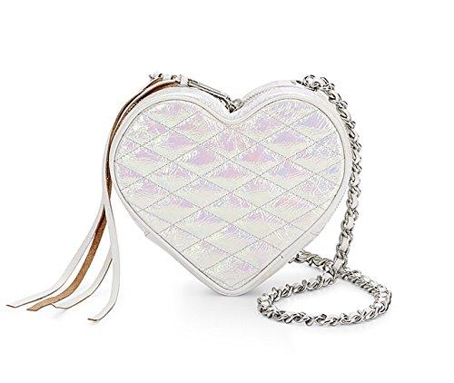 Rebecca Minkoff Shimmering Iridescent Silver Heart Crossbody