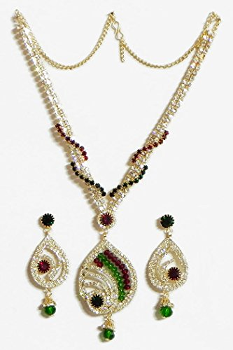 DollsofIndia White,Maroon Amd Green Stone Studded Necklace And Earrings - Stone And Metal - White