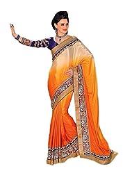 AG Lifestyle Orange Satin Chiffon Saree With Unstitched Blouse ASL811