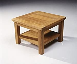 Teak Fixed Square Coffee Table with shelf: Amazon.co.uk ...