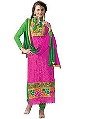 Vibes Designer Pure Georgette Unstiched Dress Materials,Free Size,Pink,V205-7
