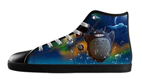Custom Imported Women's Cartoon My Neighbor Totoro Canvas Shoes High-Top Lace-up Rubber Black Casual Sneakers-9M(US)