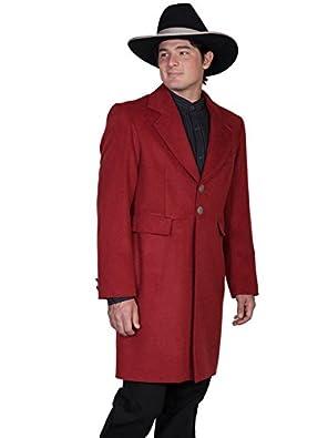 Victorian Mens Suits & Coats Scully Wool Blend Mens Frock Coat - Cinnabar  AT vintagedancer.com