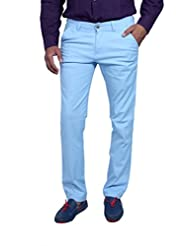 Routeen Men's Ice Blue Slim Fit Trendy Casual Pants