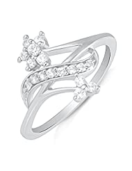 Mahi Rhodium Plated Blooming Cluster Finger Ring With CZ For Women FR1100614R