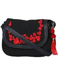Pick Pocket Black Canvas Embroidered Large PU Sling Bag