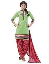 Kvsfab Light Green Pure Chanderi Unstitched Patiala Salwar Suit