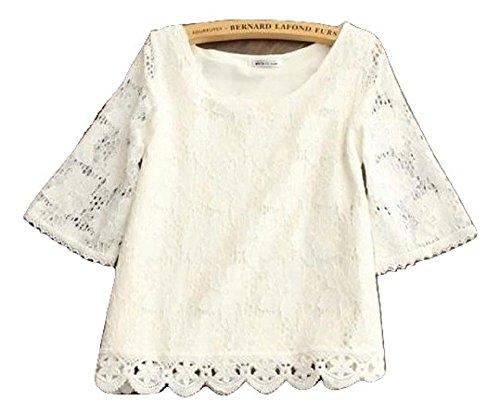 レディース ブラウス おしゃれ 白 黒 レース Tシャツ 花柄 半袖 ホワイト 7分袖 春 夏 (M, 白 ホワイト)