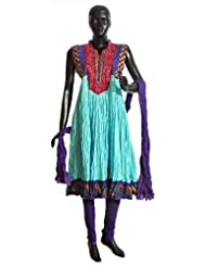 Red Parsi Embroidered Neckline And Multicolor Border On Cyan Wrinkle Cotton Anarkali Kurta With Purple Churidar...