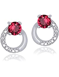 Shiyara Jewells Sterling Silver Modern Loopy Pink Earrings With CZ Stones For Women(ER00754)