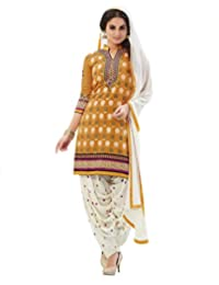 Sheknows Yellow Pure Chanderi Unstitched Patiala Salwar Suit