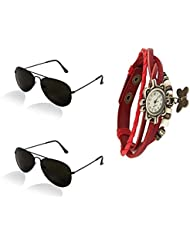 Combo Pack Of Black Frame Black Glass Aviator Sunglasses With Designer Red Wrist Watch - Pack Of 2 Box