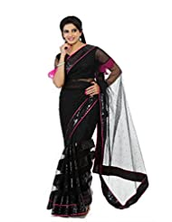 Designersareez Women Net Embroidered Black Saree With Unstitched Blouse(1312)