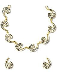 Zaveri Pearls Amazing Gold Tone Necklace Set Adorned With Austrian Diamond - ZPFK5190