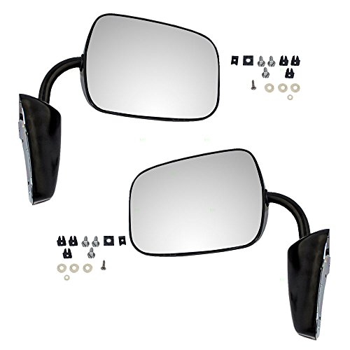Pair of Manual Side View Black Steel Low Mount Mirrors Replacement for GMC Chevrolet Pickup Truck SUV Van 996219