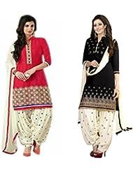 Marmic Fab Women's Cotton Printed Unstitched Regular Wear Salwar Suit Dress Material (MR_Dress_682_Black&Red_freesize)