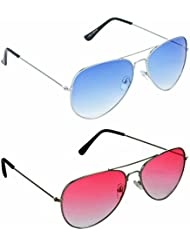 Redix New Combo Traditional Light Red And Blue Avaitor Sunglass For Unisex (RD-02-BLU)