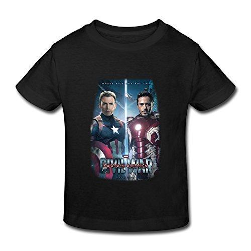 Kids Toddler Captain America Civil War 2016 Film Little Boy's Girl's T Shirt Black Size 5-6 Toddler