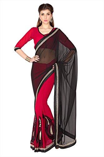 Designersareez Women Black & Red Faux Georgette Saree With Unstitched Blouse (1777)