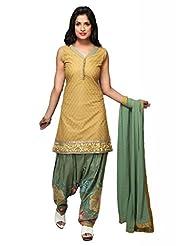 Mustard Cotton Straight Salwar Kameez For Ladies