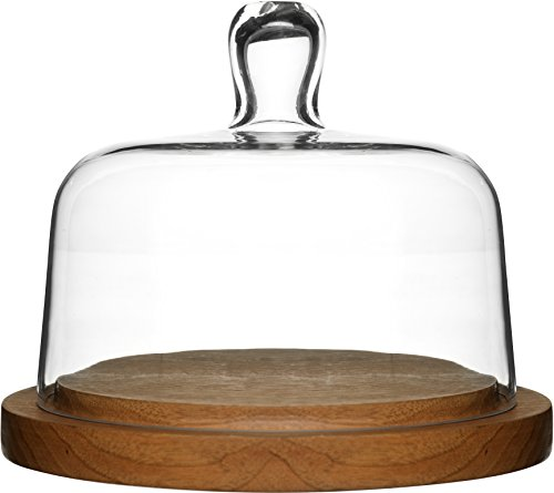 Sagaform Oak Cheese Dome with Hand-Blown Glass Lid