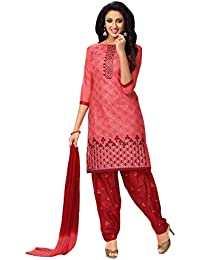 Oomph! Women's Unstitched Salwar Suit/Dress Material/Embroidered Cotton Dress Material, Pink