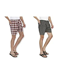Nick&Jess Mens Grey & Maroon Checkered 100% Cotton Boxer Shorts(STEAL DEAL-Pack Of 2)