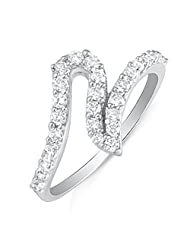 Mahi Rhodium Plated Charismatic Charm Finger Ring With CZ For Women FR1100611R