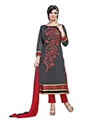 Suchi Fashion DarkGrey & Red Embroidered Chanderi Dress Material