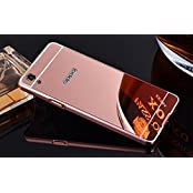 AE (TM) Luxury Metal Bumper + Acrylic Mirror Back Cover Case For OPPO F1 PLUS ROSE GOLD