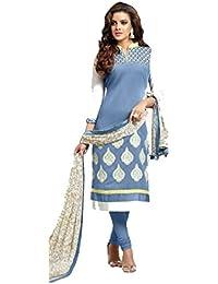 Ank Women's Blue Chanderi Cotton Semi Stitched Dress Material Printed Dupatta