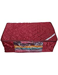 Kuber Industries Saree Cover Extra Large In Quilted Satin (Maroon) 27*9*14 Inches