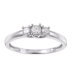 Splendid Three Stone Trilogy Three Stone Wedding Ring Half Carat Round Cut Diamond on Gold