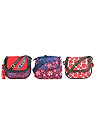 Pick Pocket Combo Of Red And Blue Canvas Sling Bag With Kairi Printed And PU Strap With Navy Blue And Red Floral...