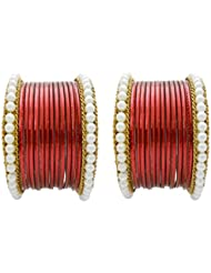 Designer Red Pearl Bridal Bangles Set By My Design(size-2.6)