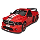 RC Car - Dodge Ram Electric Remote Control Car - 1/18 Scale Model Truck - Red With White Racing Stripes