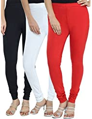Style Acquainted People Women's Cotton Leggings (Pack Of 3) - B015J87NV6