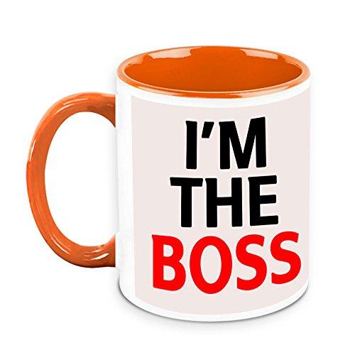 HomeSoGood I Am The Boss Quote White Ceramic Coffee Mug - 325 Ml