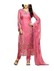 CrazeVilla Women Pink Color Georgette Embroidered Salwar Suit.