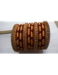 KP Bangles MultiColor Glass Bangles Set For Women Gold And Maroon Combination (set Of 10 Bangles)