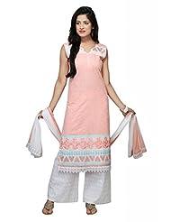Peach Cotton Straight Salwar Kameez For Ladies - B00TJVJUL6