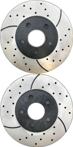 Prime Choice Auto Parts PR6582LR Performance Drilled and Slotted Brake Rotor Pair for Front