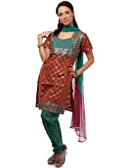 Exotic India Green And Rust Brocaded Choodidaar Suit With Mirrorwork - Green