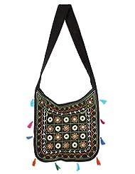 Rajrang Indian Designs Cotton Embroidered Circles Black Sling Bag
