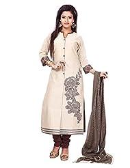 Beige & Coffee Kora Silk Stripe Readymade Salwar Kameez Dress - Machine Patch Work In Top