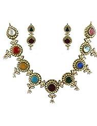 Anuradha Art Multi Colored Kundan Necklace Set For Women - B014HB9440